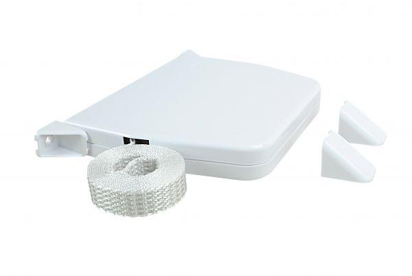 Minigurtwickler für Türen/Fenster, weiß, 14mm Gurtbreite, Lochabstand 153mm